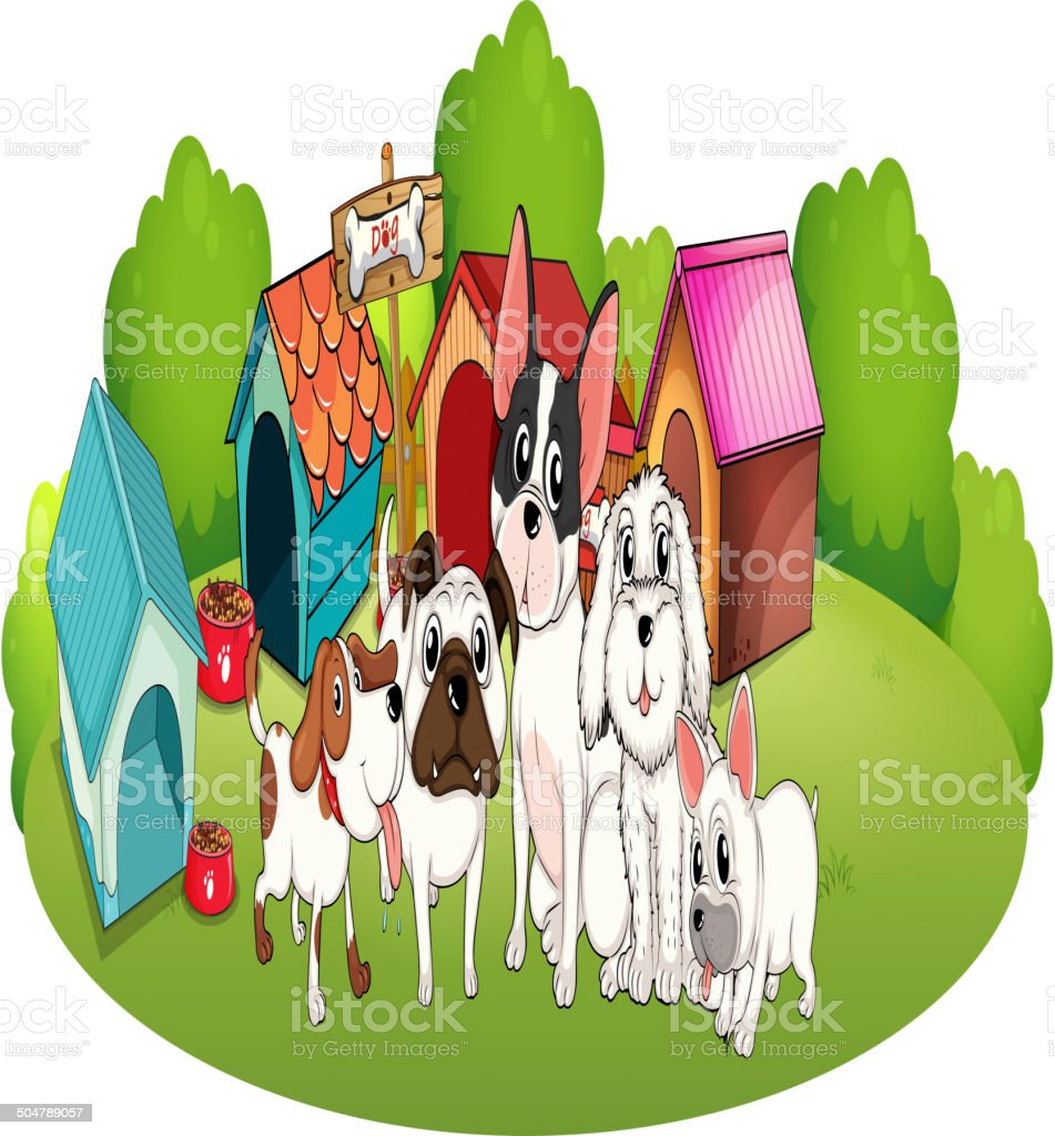 Group of dogs outside their houses royalty-free stock vector art