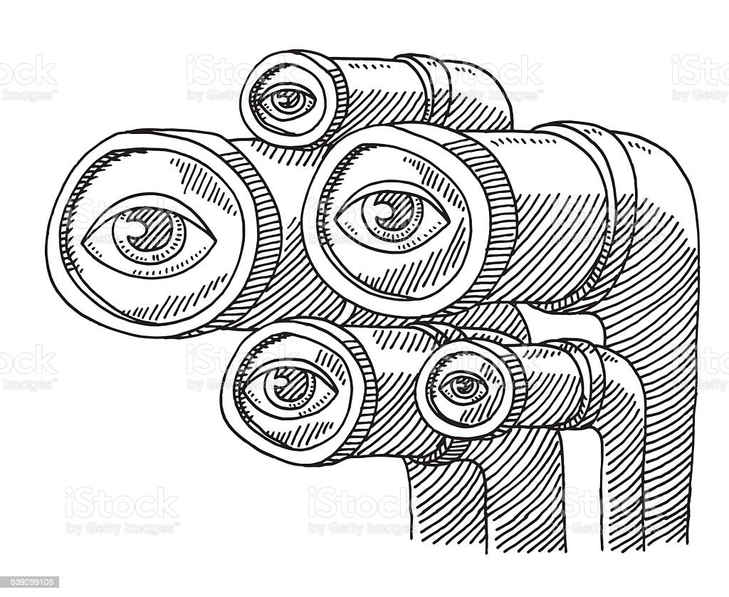 Group Of Eyes Observation Drawing vector art illustration