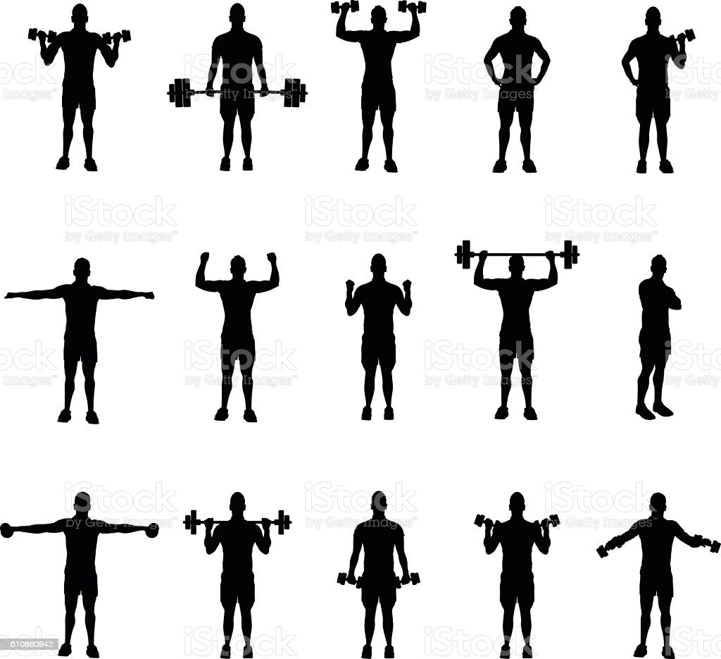 group of fitness silhouettes vector art illustration
