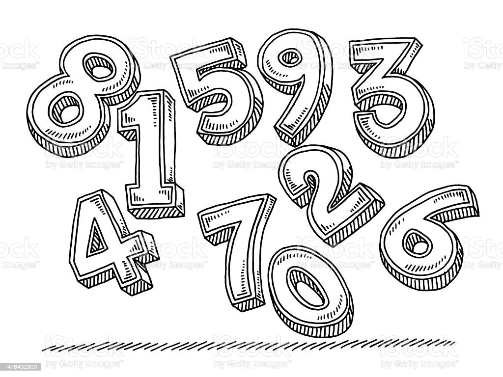 Group Of Flying Numbers Drawing vector art illustration