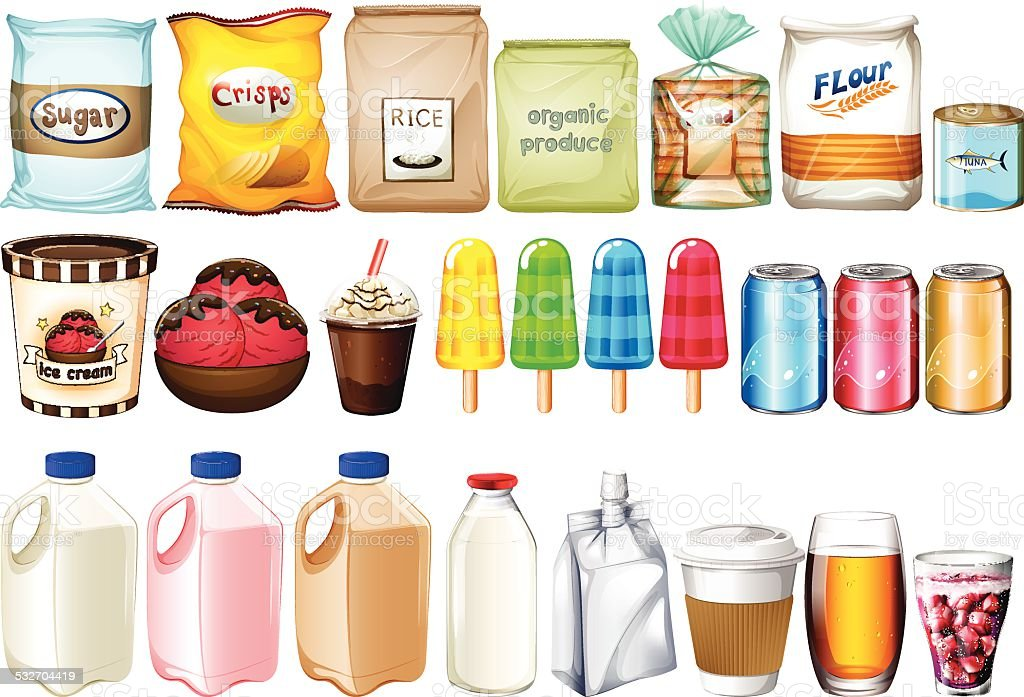 Group of foods and drinks vector art illustration