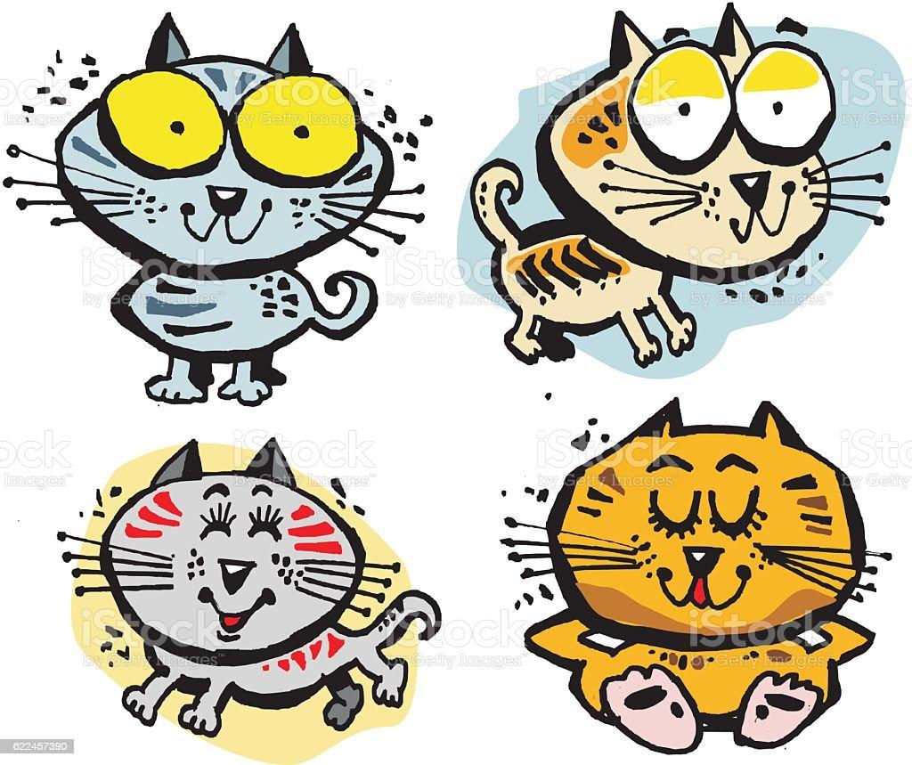 Group of four cute cartoon cats. vector art illustration