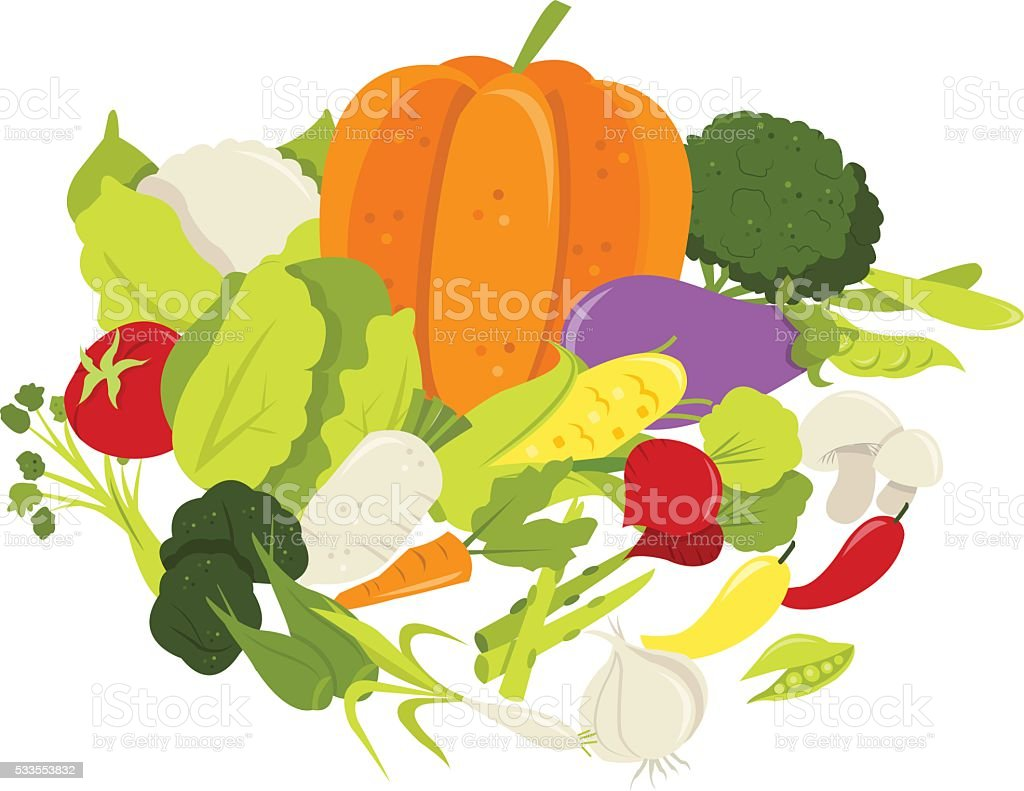 Group of Fresh Vegetables vector art illustration