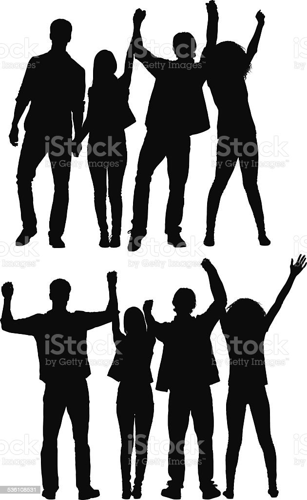 Group of friends celebrating vector art illustration