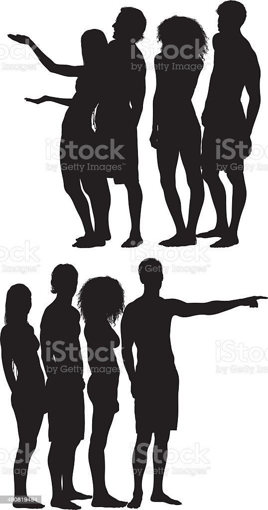 Group of friends in swimwear presenting and pointing vector art illustration