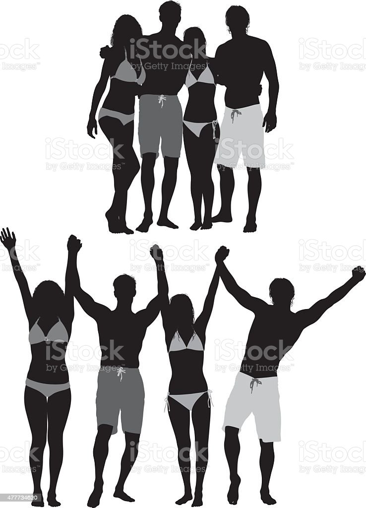 Group of friends in swimwear vector art illustration