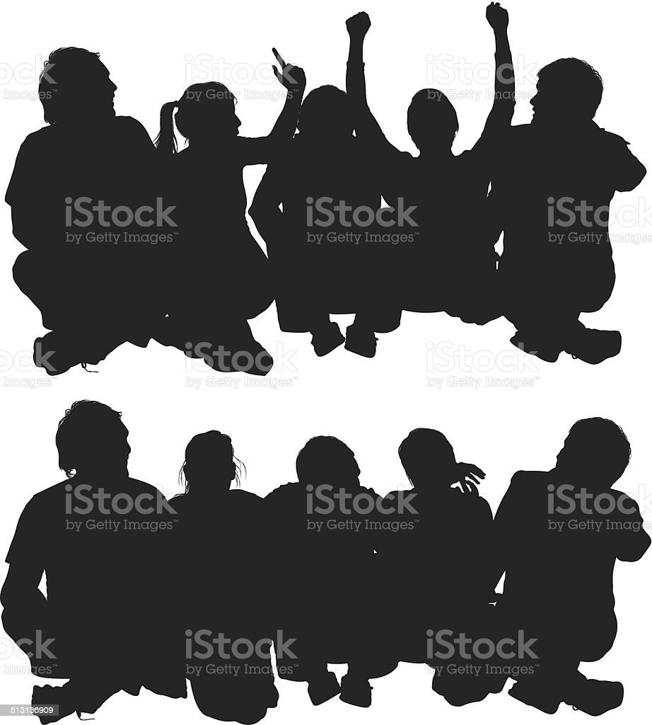 Group of friends sitting on floor vector art illustration