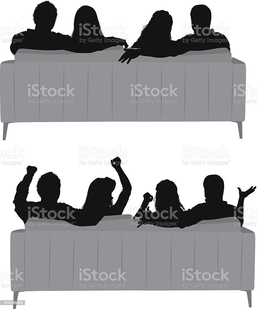 Group of friends sitting on sofa vector art illustration