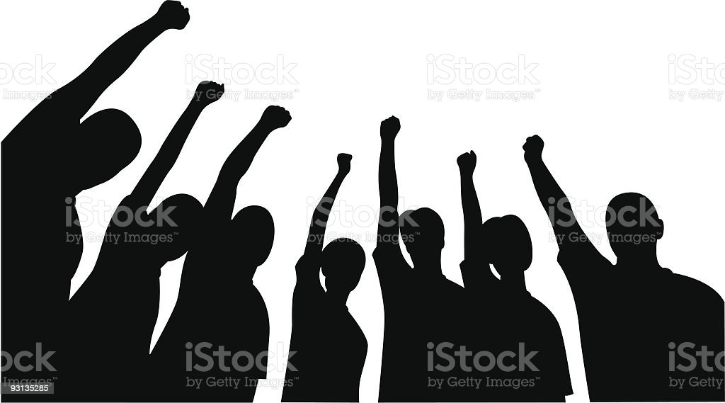 Group of friends upwards hands royalty-free stock vector art