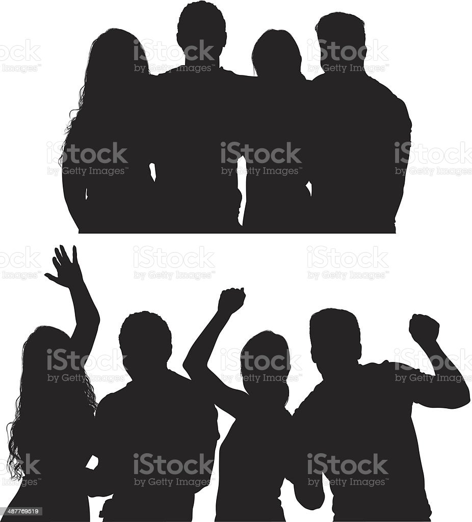Group of friends vector art illustration