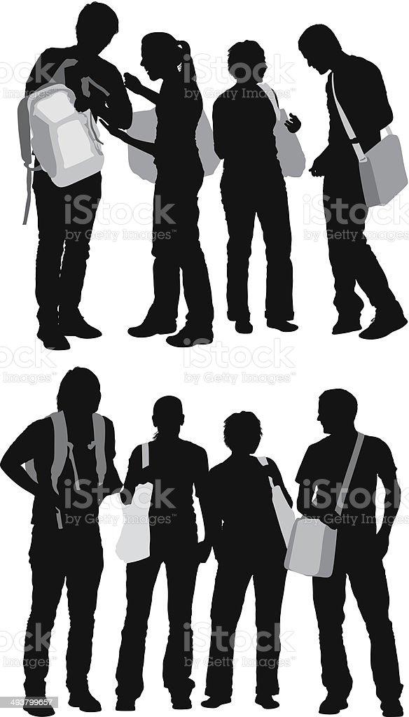 Group of friends vector art illustration