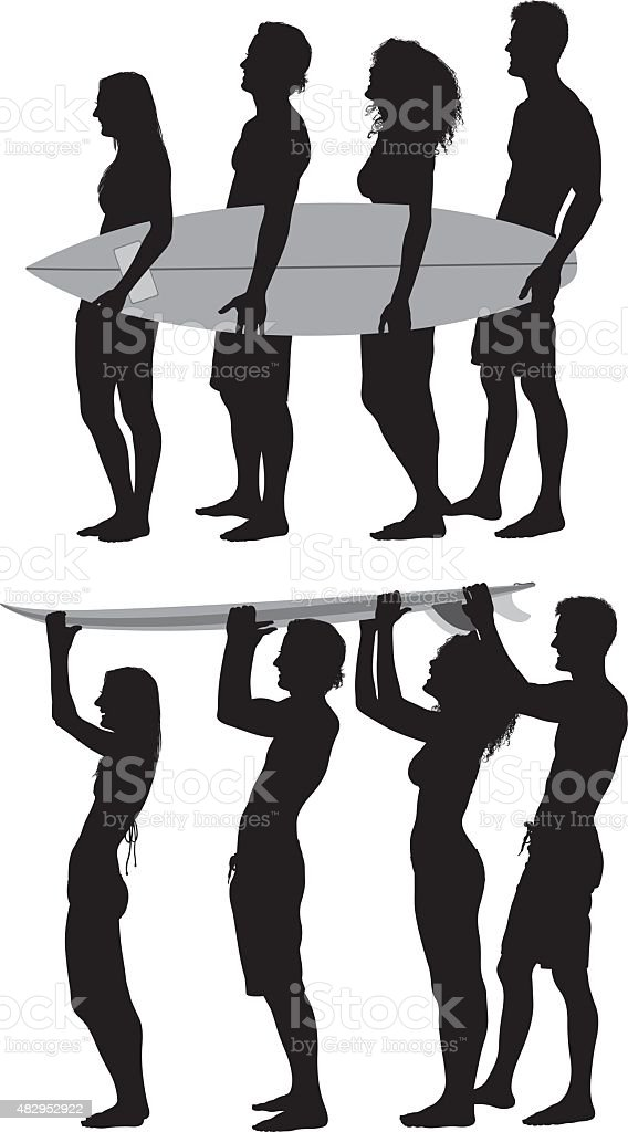Group of friends with skateboard vector art illustration