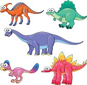 Group of funny dinosaurs