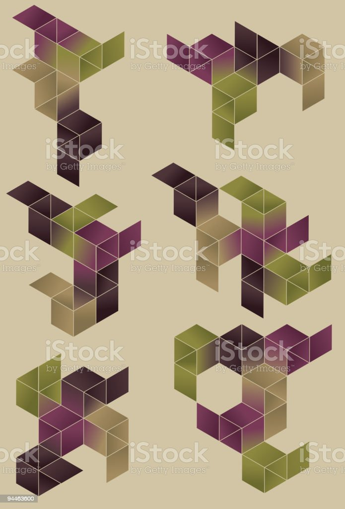 Group of geometric design elements. royalty-free stock vector art