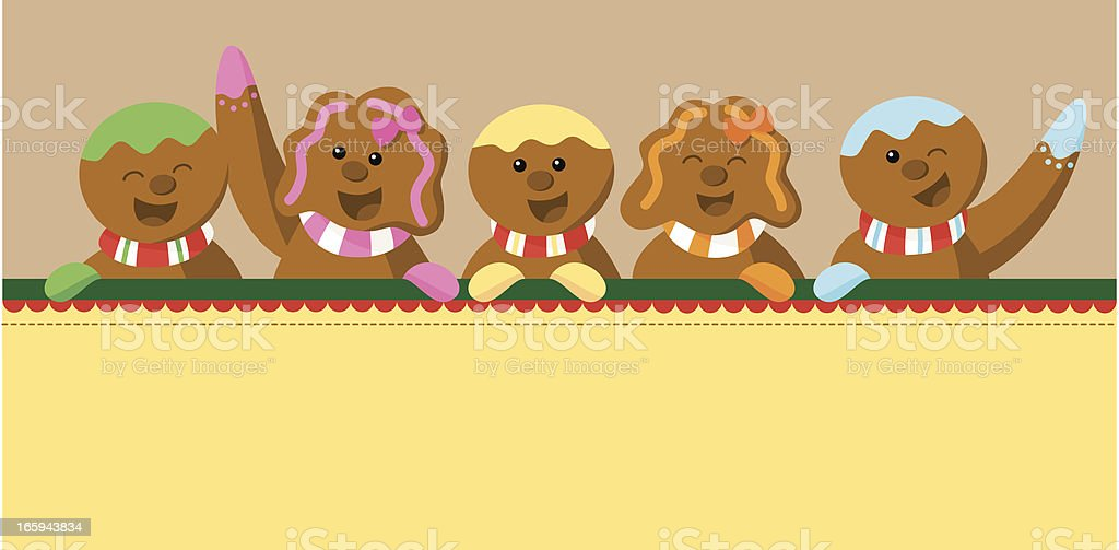 Group of gingerbread cookies with sign vector art illustration