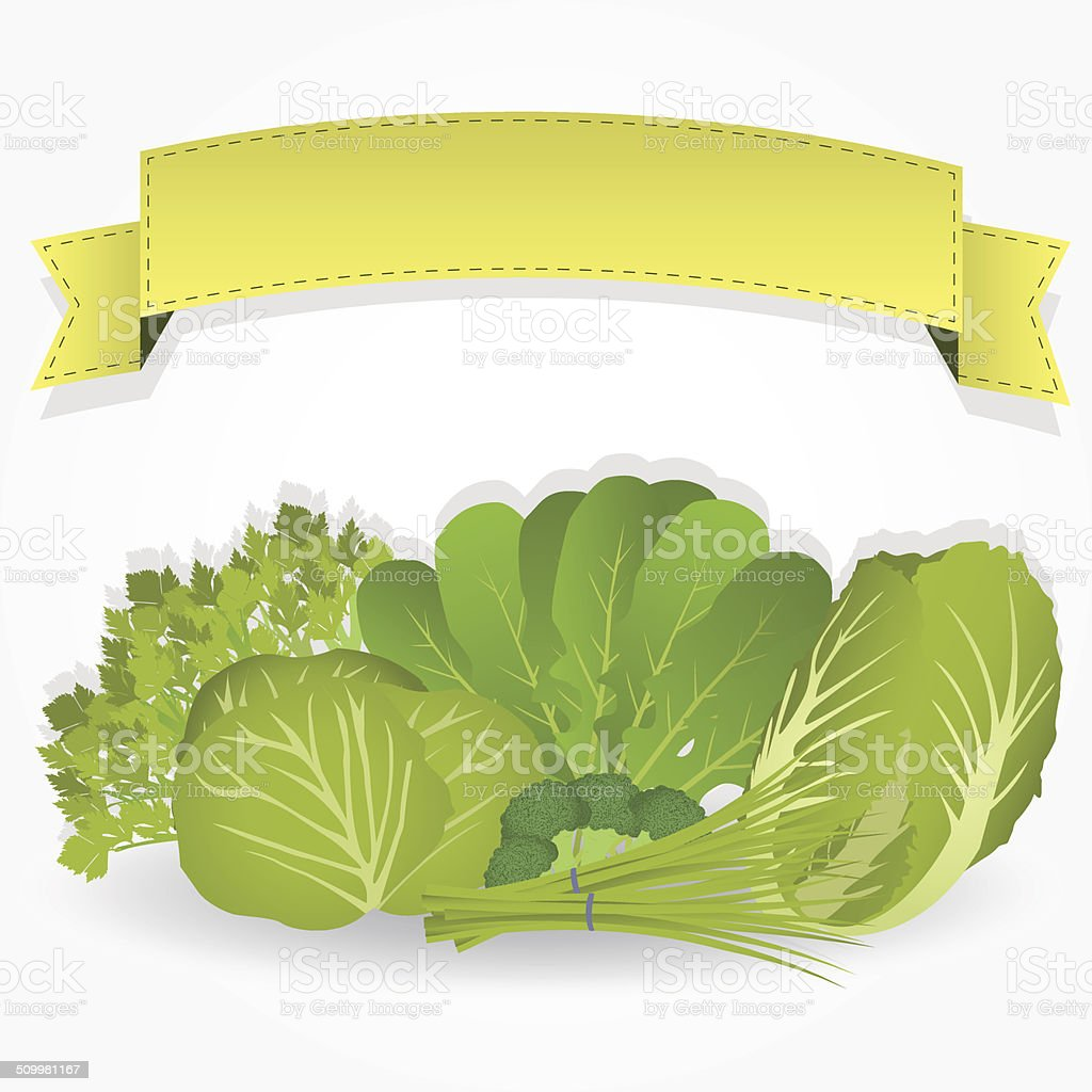 Group of greens with a ribbon vector art illustration