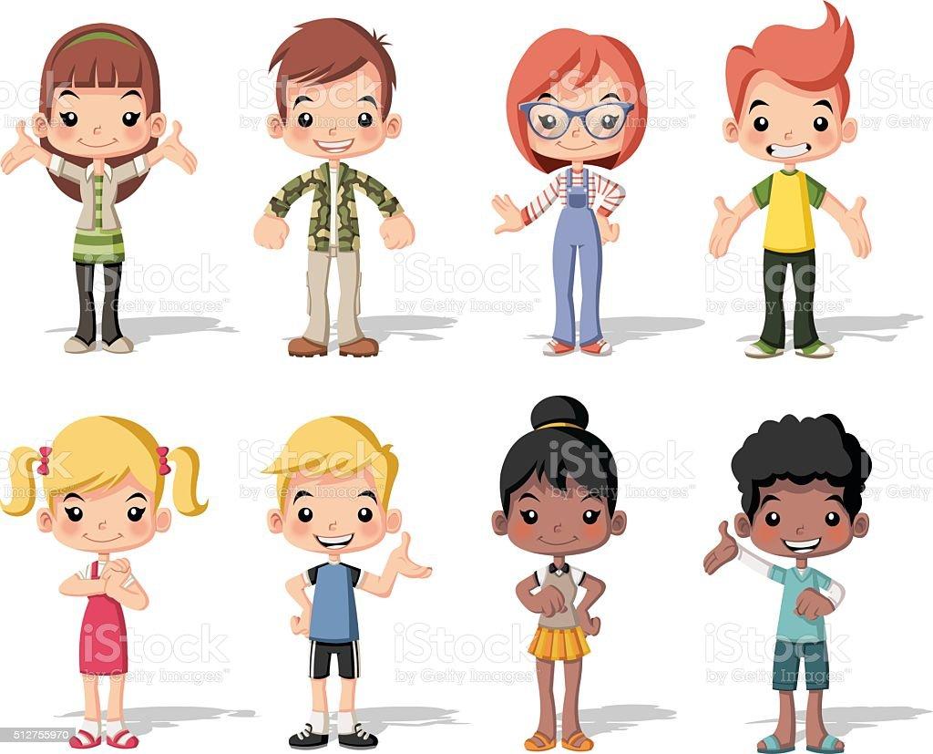 Group of happy cartoon children. vector art illustration