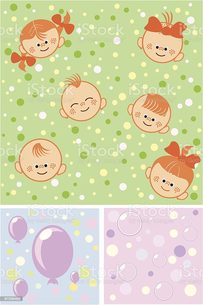 Group of happy children and balloons royalty-free stock vector art