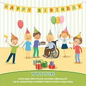 Group of happy children congratulates disabled child on his birthday