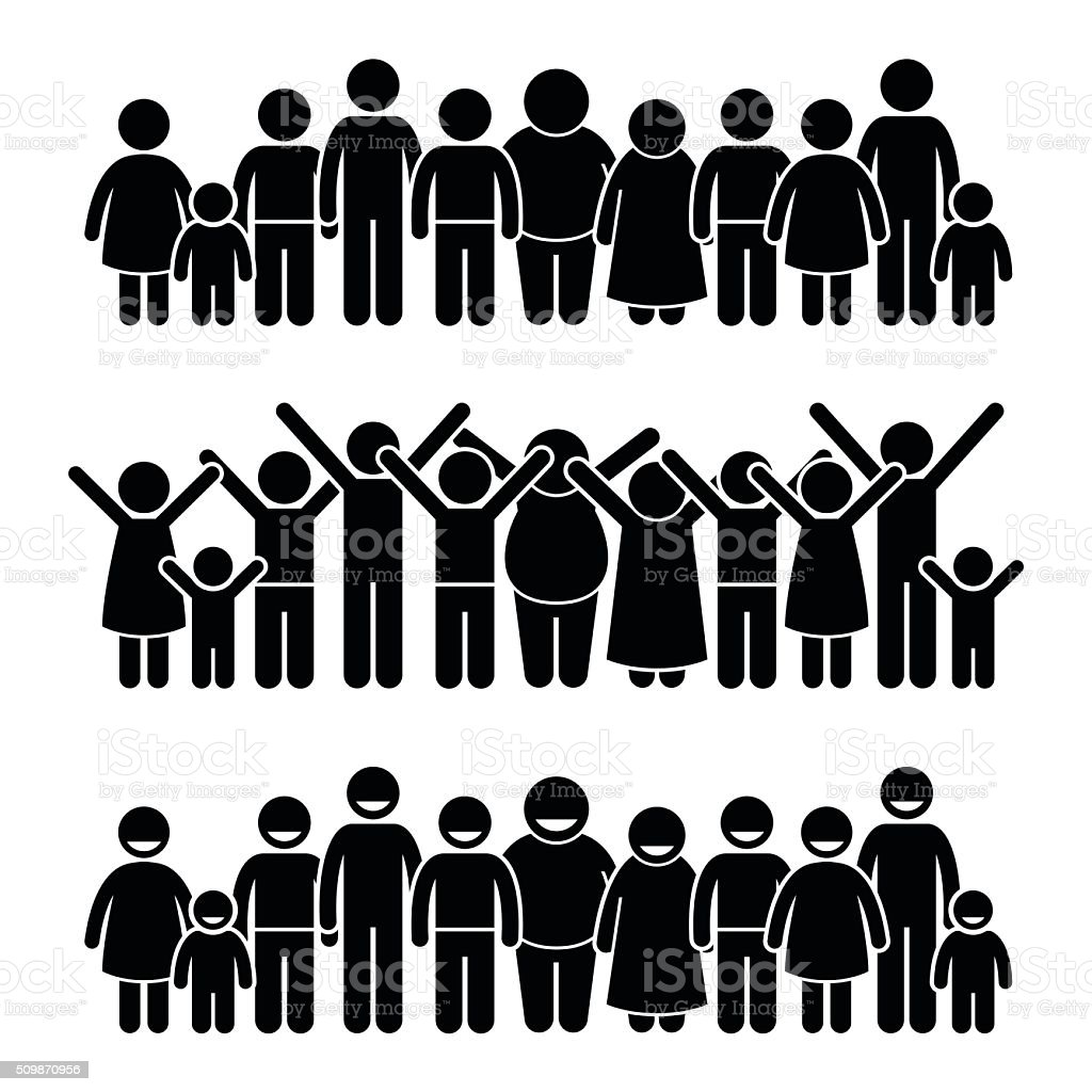 Group of Happy Children Standing Smiling and Raising Hands Illustrations vector art illustration