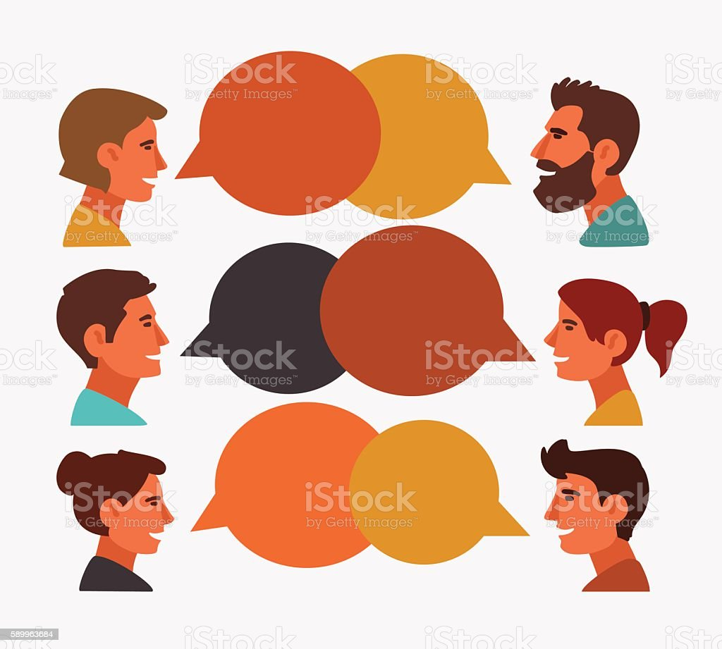 Group of happy smiling young people speaking together vector art illustration
