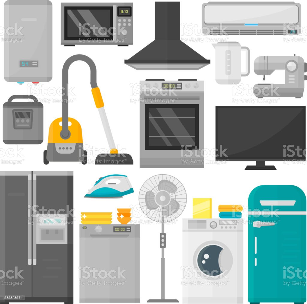 Group of home appliances vector set. vector art illustration