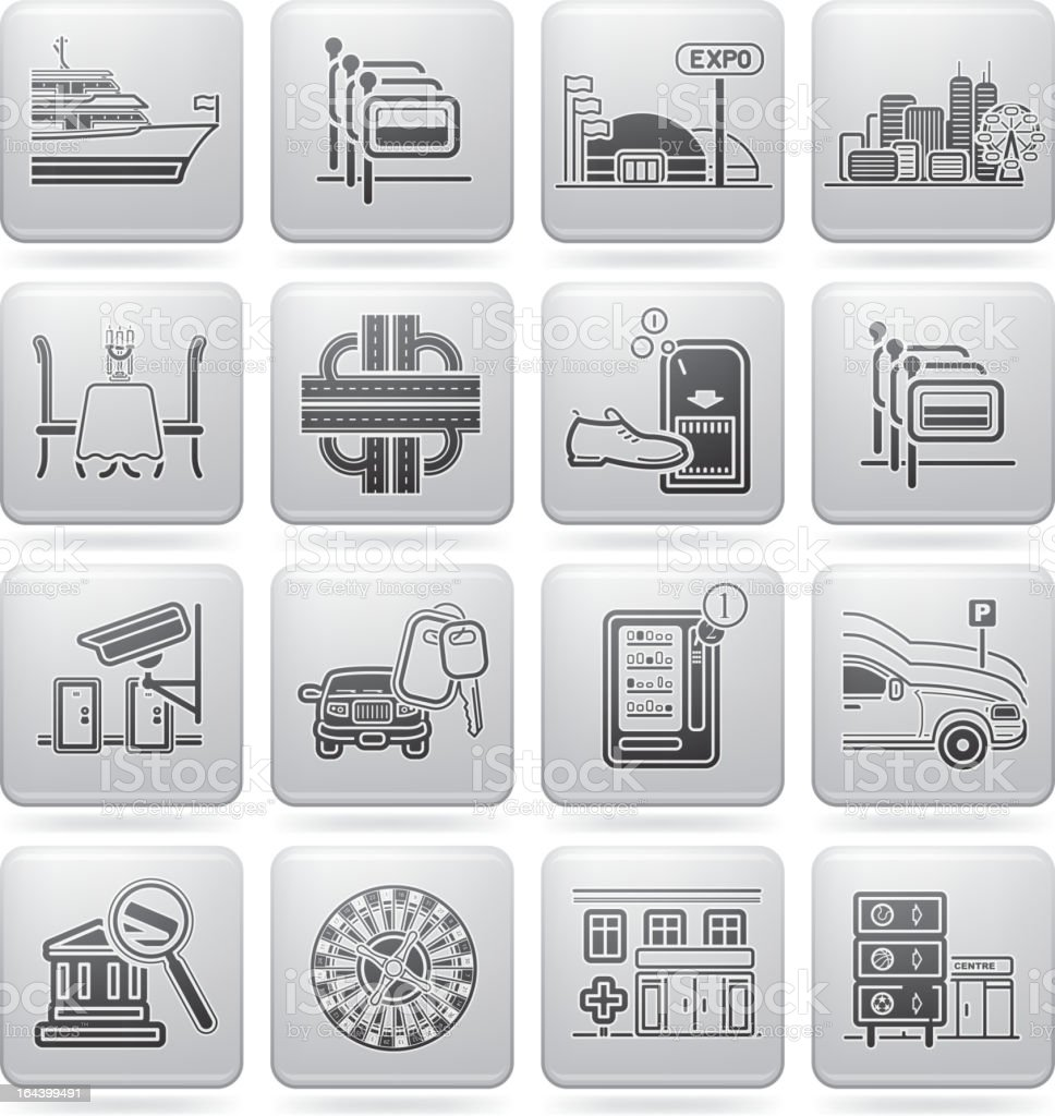 Group of icons representing travel and information services vector art illustration