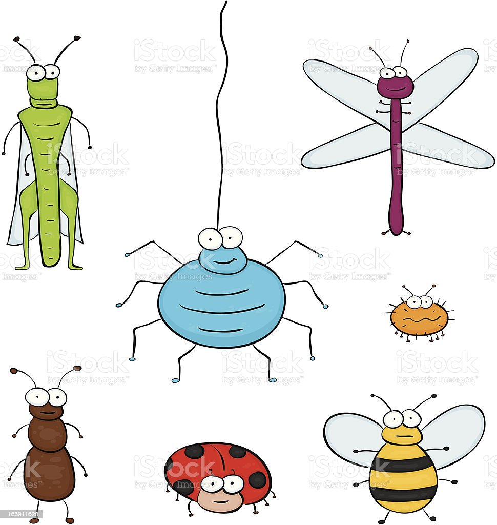 Group of insect vector art illustration
