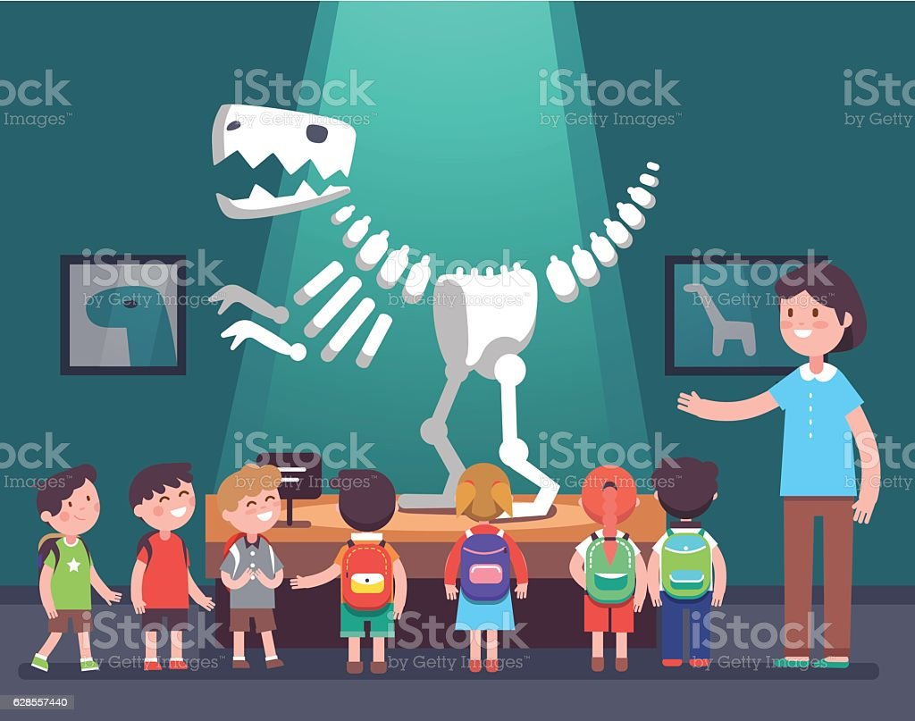 Group of kids at archeology museum excursion vector art illustration