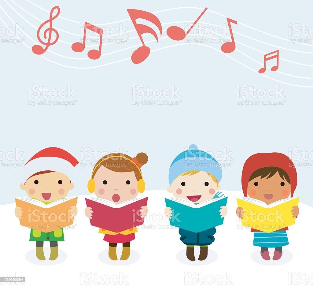 Group of kids chorus singing Christmas songs. Vector illustration vector art illustration