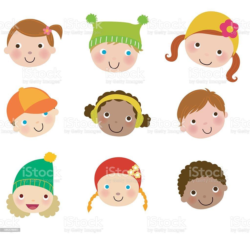 Group of kids face set vector art illustration