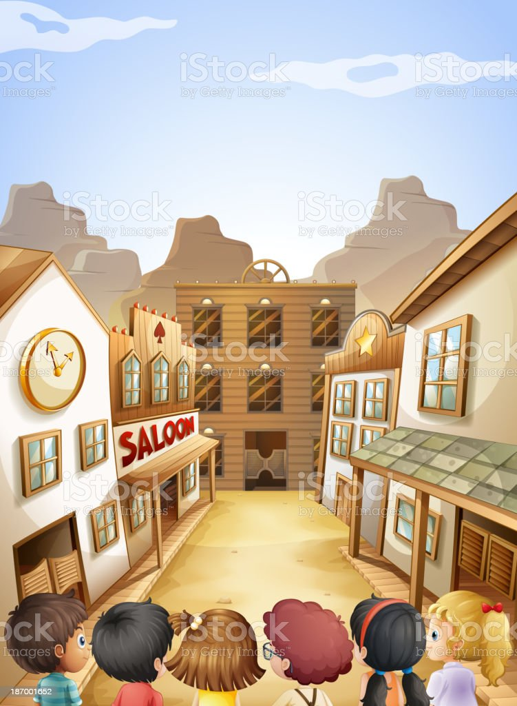 group of kids going to the saloon bars vector art illustration