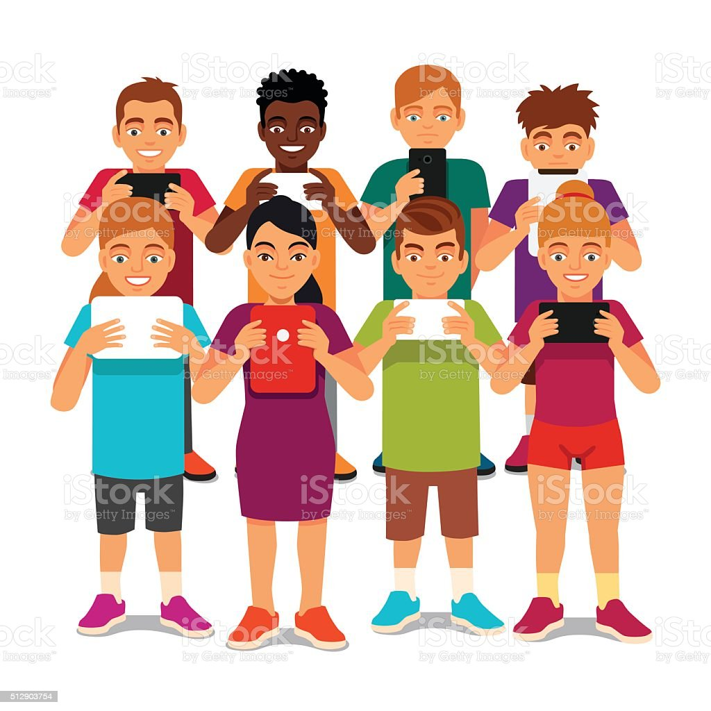 Group of kids looking into their tablets vector art illustration