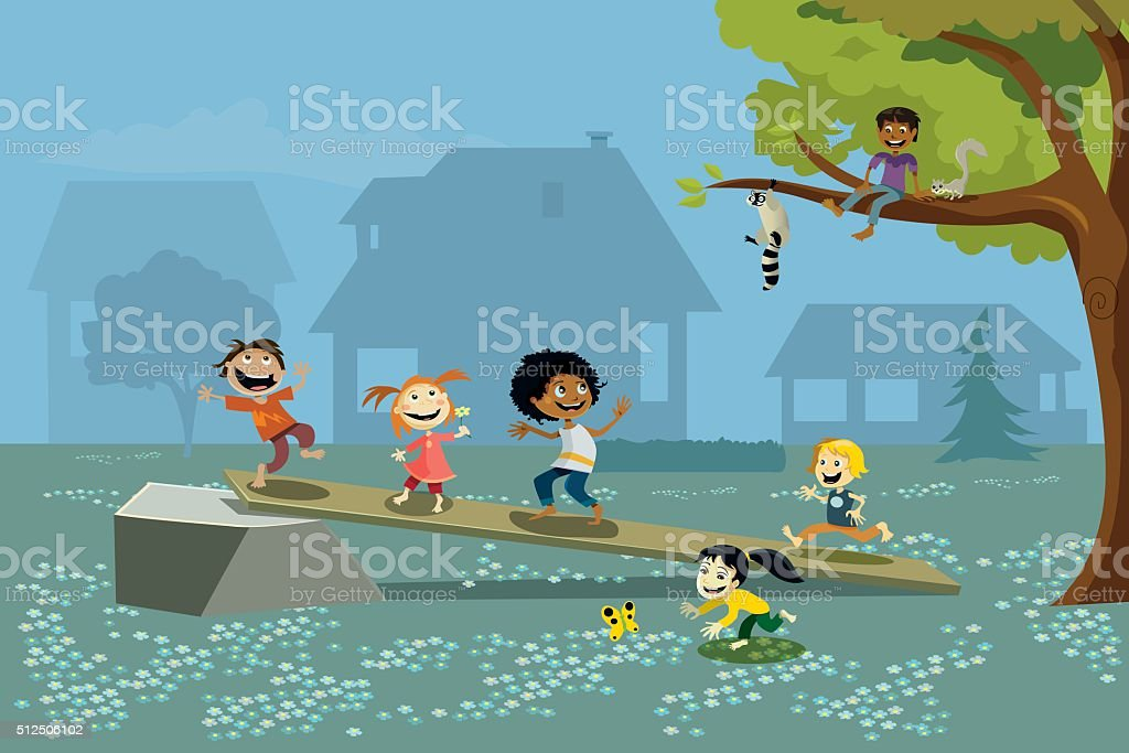 Group of Kids Playing Outside vector art illustration