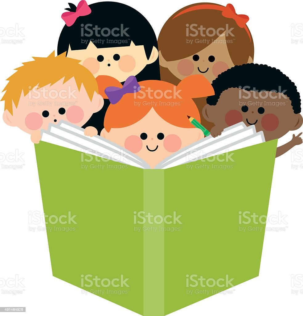Group of kids reading a book vector art illustration