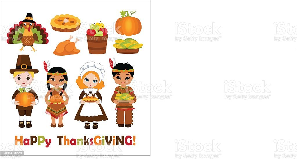 Group of kids sharing food for Thanksgiving vector art illustration