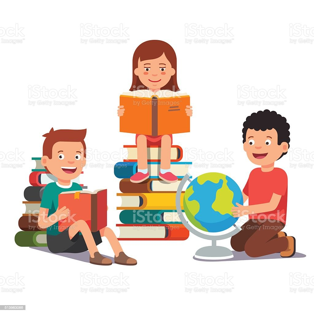 Group of kids studying and learning together vector art illustration