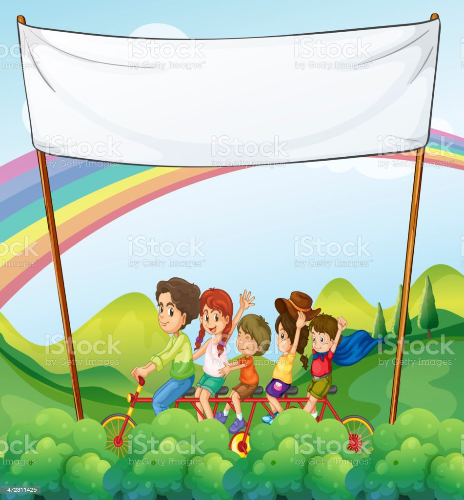 Group of kids under the empty signage royalty-free stock vector art