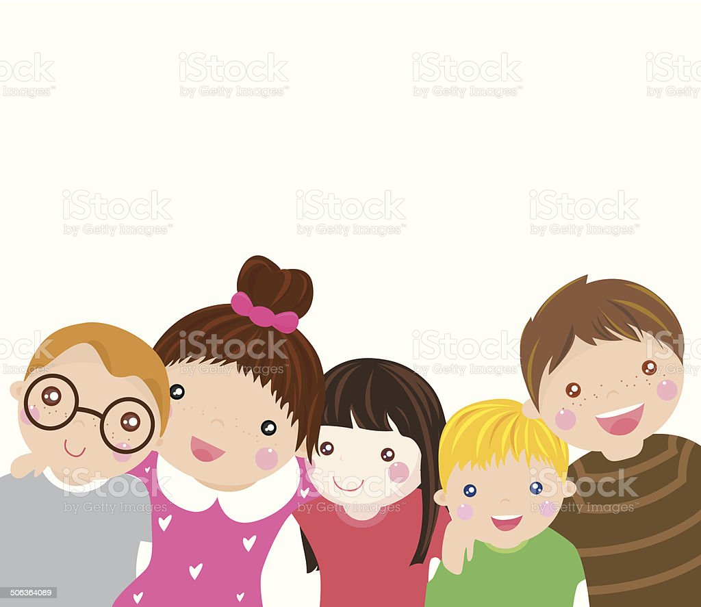 Group of kids vector art illustration