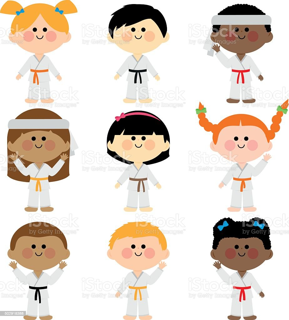 Group of kids wearing martial arts uniforms vector art illustration