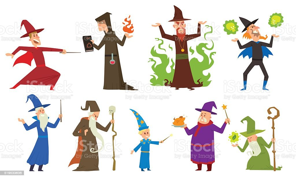 Group of magicians and wizards illusion show old man imagination vector art illustration