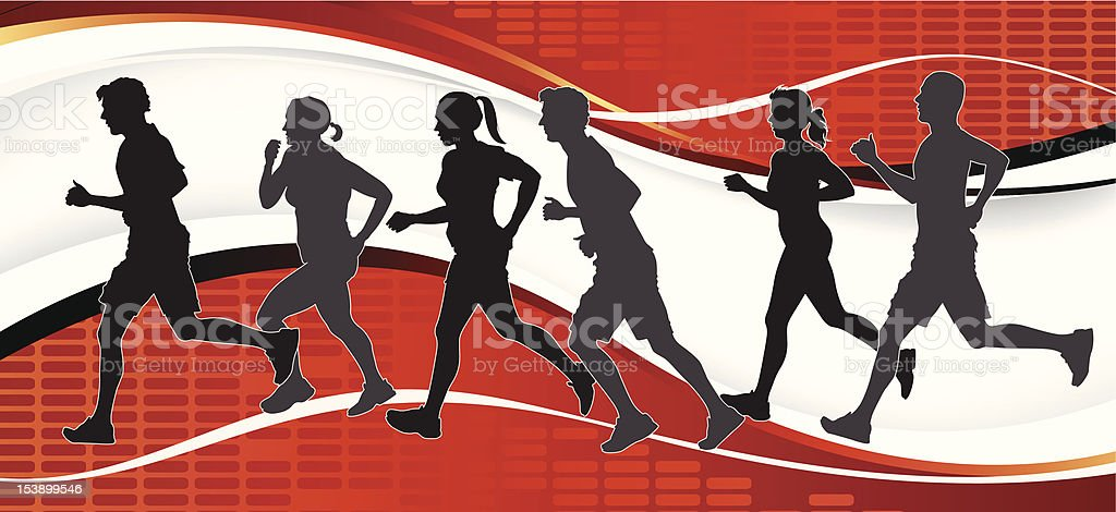 Group of Marathon Runners on abstract background. royalty-free stock vector art