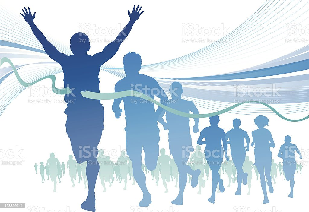 Group of Marathon Runners on abstract swirl background. vector art illustration