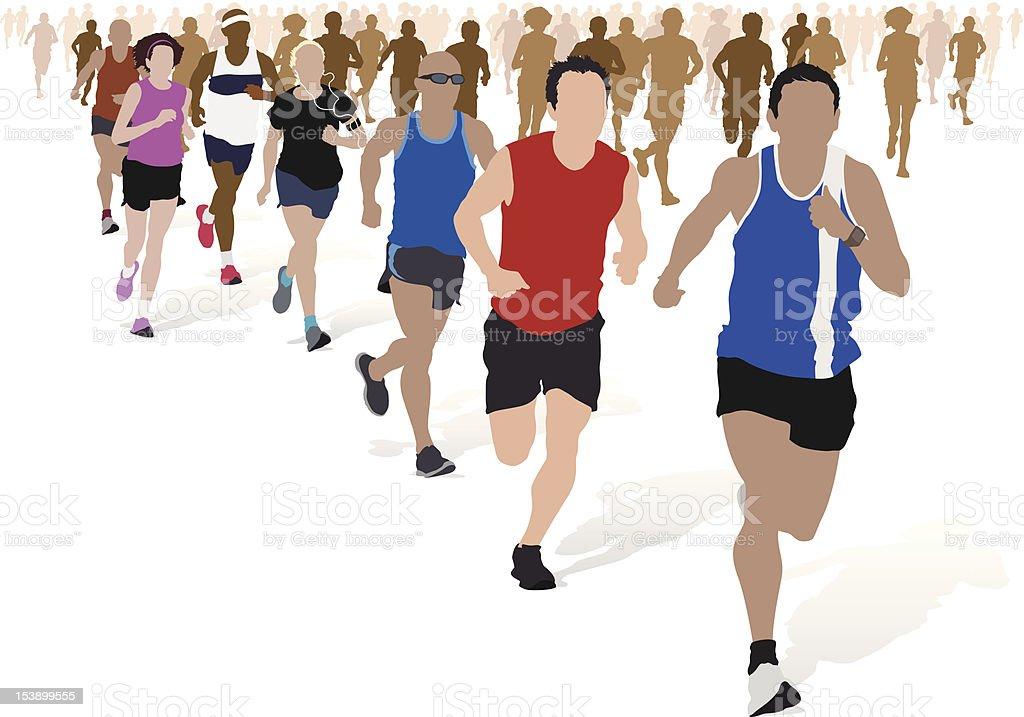 Group of Marathon Runners. vector art illustration