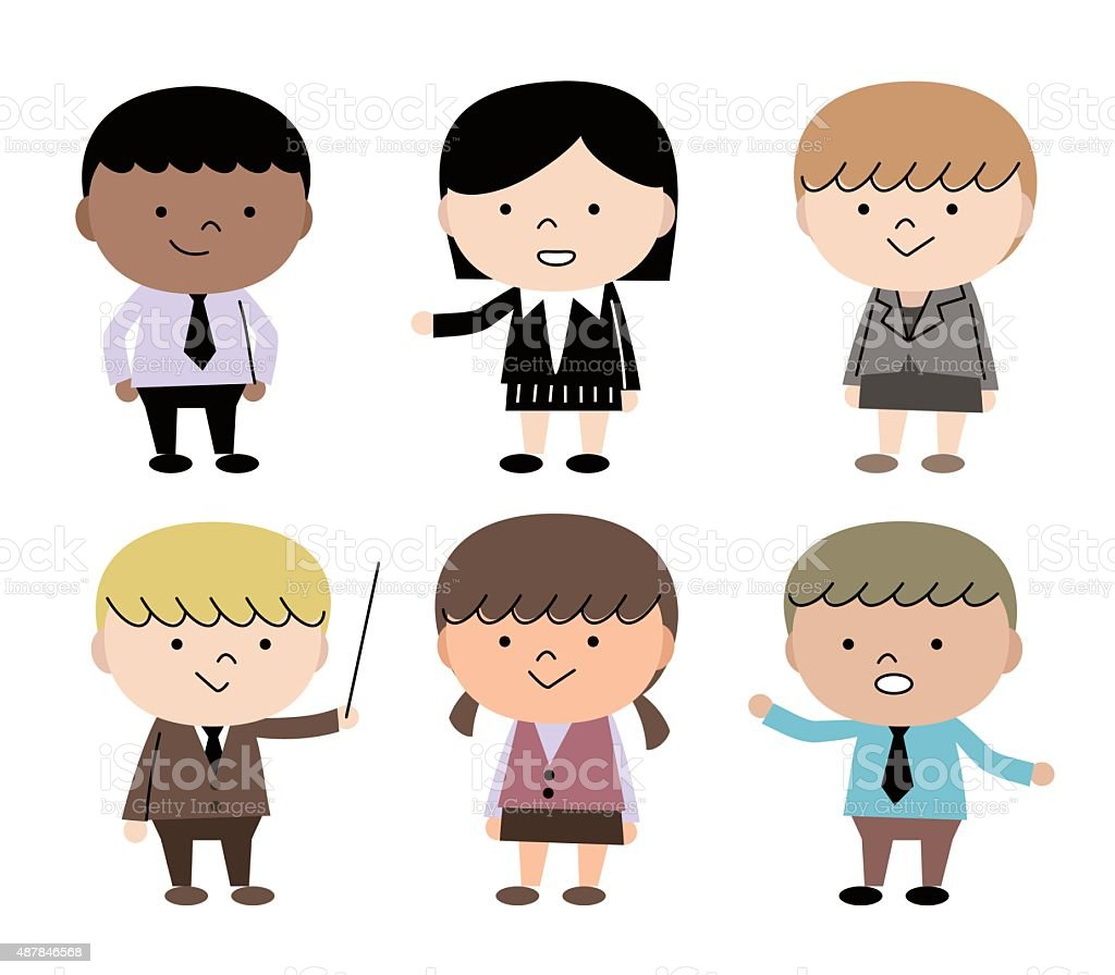 Group Of Multi Ethnic Children (6 kids) In Business Suit vector art illustration