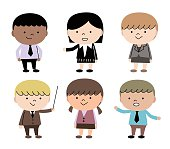Group Of Multi Ethnic Children (6 kids) In Business Suit