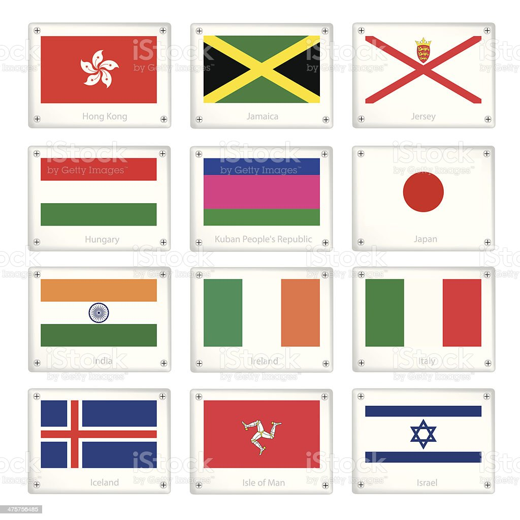 Group of National Flags on Metal Texture Plates vector art illustration