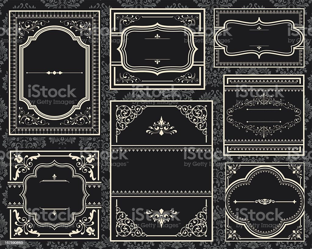 A group of old black ornate vintage frames vector art illustration