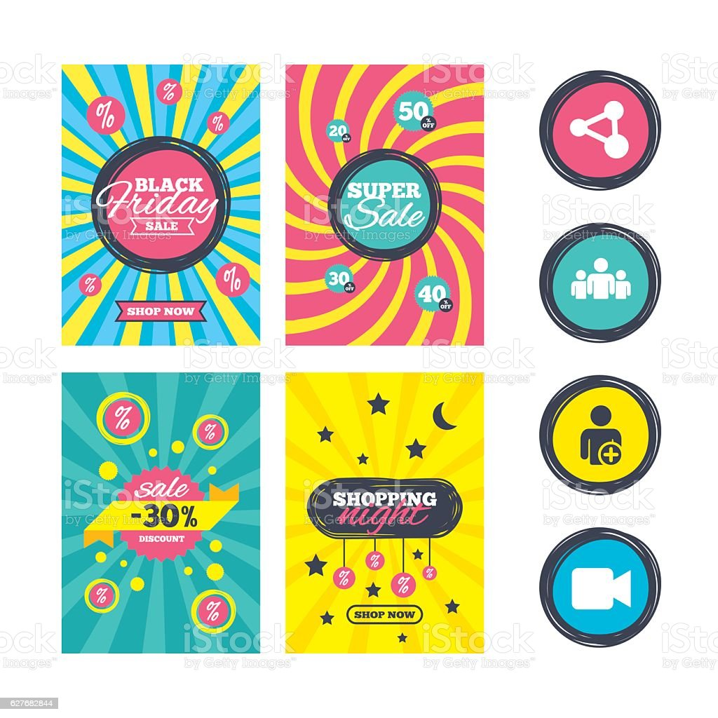 Group of people and share icons. Video camera. vector art illustration