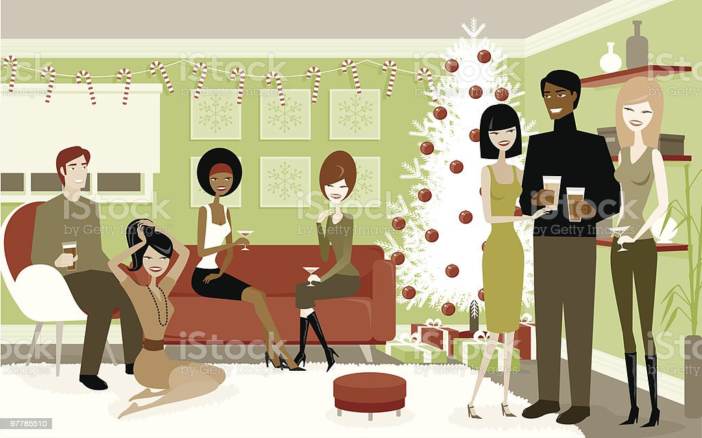 Group of People at a Christmas Party royalty-free stock vector art
